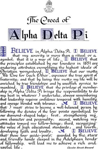 The Creed Of Alpha Delta Pi