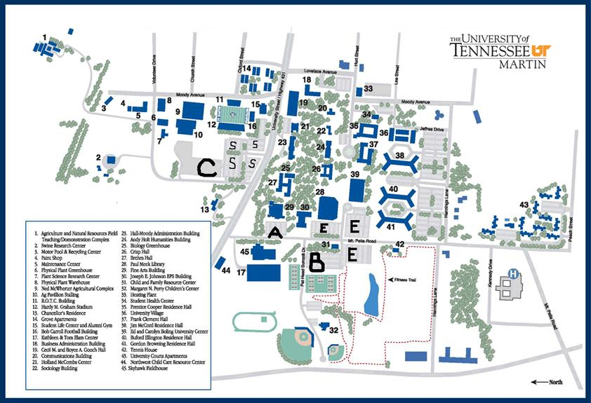 ut martin campus map West Tennessee Marching Championship Music ut martin campus map