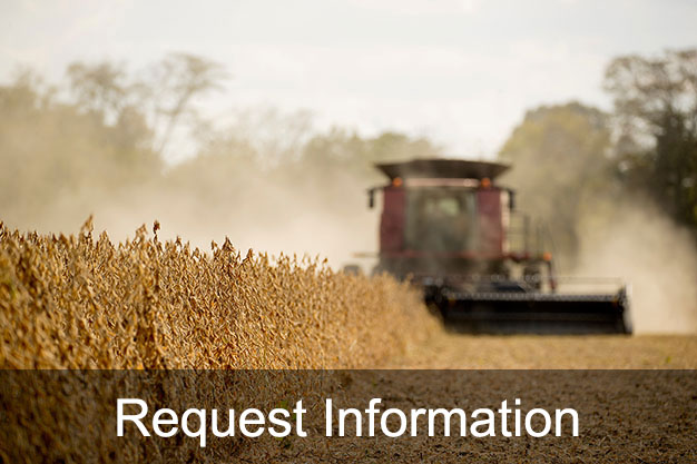 Image of tractor harvesting field with link to request information form