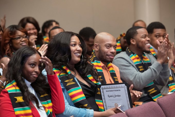 (l-r) Tayh'lore Chism, Kendal Brookins, Chris Bass and Jason Andrews, all of Memphis, attended the University of Tennessee at Martin's Black Graduate Recognition Ceremony held Dec. 14.
