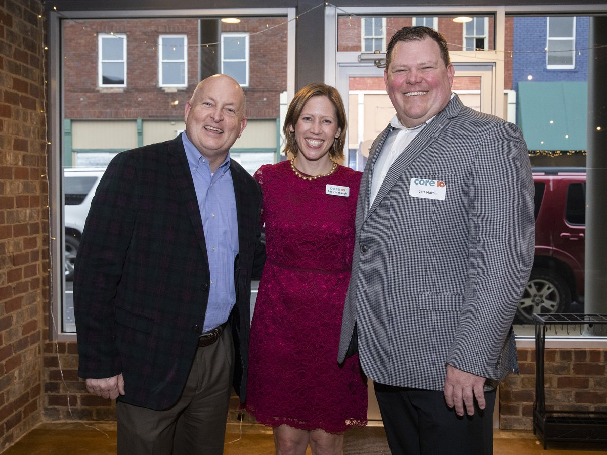 UT Martin Chancellor Keith Carver (left) is pictured with Core10 co-founders Lee Farabaugh (center) and Jeff Martin during the company's Nov. 30 open house at their newest branch on Lindell Street in downtown Martin.